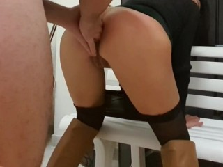 8 fingers in the anal. Step sister ready for fuck