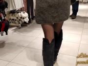 Public upskirt sexy panties in mall