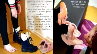 I could stroking, but could't cum...I Love her barefoot in boots and slippers...Eng sub.