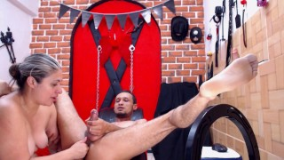 Mistress slave to make a big cum for her, The girl has fingers in his ass