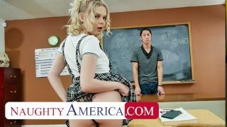 Naughty America Coco Lovelock feels naughty and fucks her Professor in detention