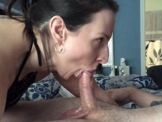 I invited my husband's friend over and next thing I know his throbbing cock is cumming in my mouth!!
