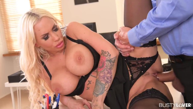 Megamammoried Blonde Kyra Hot Gets Deep Dicking from Boss to Save Job