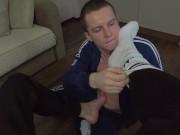 Foot fetish domination - sucking the master's leg