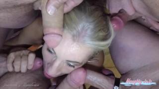8-Cock Blowbang Bukkake - Joanna Meadows - NaughtyJoJo - Cumwhore on her knees sucking off 8 cocks