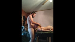 face fucking my sexy ass wife while she's tied down