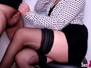 Secretary Jerks Off New Boy at Work until Cum on Crossed Legs in Pantyhose #15