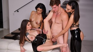 Hot Girls Harley Haze, Maddy May, Madi Laine Love Group Sex And Latex Suits