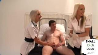 CFNM Nurse femdoms tugging pathetic small dick
