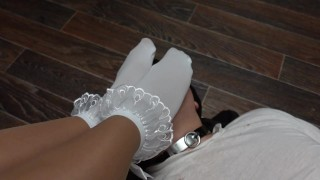 kisses feet mistress in nylon socks femdome foot fetish sexwife girl in tights pantyhose