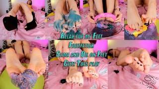 性色情影片 - 放松脚脚趾粘液和油在我脚上可爱的脚趾
