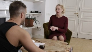 MATURE4K Blonde mature woman has pussy fucked by handsome potential boss