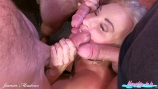Triple Facial MILF- Joanna Meadows- NaughtyJoJo – Blowbang and 3 facial cumshots – Cumwhore
