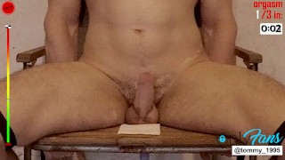 3 Orgasms Impaled on Dildo Tied to Chair Restrained Prostate Milking Session --OF @tommy_1995