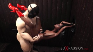 Hot sex in gloryhole room! Masked man bangs rough a sexy ebony