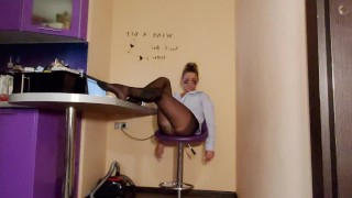 lady in black pantyhose play with bdsm