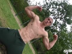 Hot Muscle Boy - Outdoor Handjob