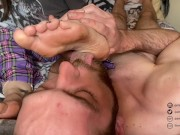 Femdom dirty foot cleaning ends in ruined orgasm for chastity sub (Preview/Teaser)