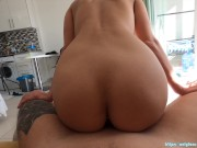 Sexy couple has beautiful morning sex | horny moaning brunette was fucked under the sun