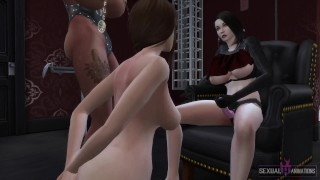 two lesbian girls have bdsm sex with straight submissive girl sexual ร้อน อนิเมชั่น