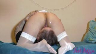 Hot milf facesitting in white glossy stockings