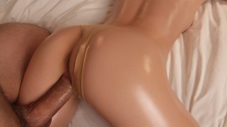 Amazing Babe Gets Creampied Oiled Sex