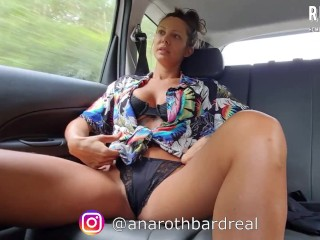 Horny Uber ride - I fucked my wet pussy behind the driver and paid with blowjob - @anarothbardreal