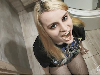 Crazy blonde clothes wetting