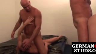 Unsaddled german studs group fucking for cum