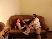 Smell Stockings And Feet, Worship Feet Then Cum While Dominant Couple Makes Video Femdom mature blow