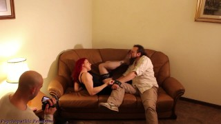 Smell Stockings And Feet Worship Feet Then Cum While Dominant Couple Makes Video Femdom
