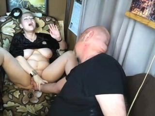 Our Soft Private Show with gentle kissing, nipple sucking and fingers in wet mature cunt of my wife