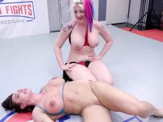 Busty Lesbians In Rough Lesbian Wrestling Fight As Brandi Mae Battles Leya Falcon With Pussy Eating