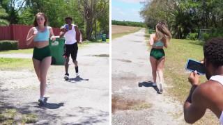 BANGBROS Harley Jade Goes For A Jog & Someone Follows Her
