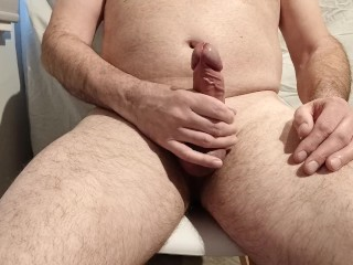 Wanking my big cock with a huge cumshot
