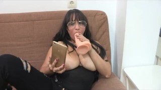 Esmeralda and her GREAT TITTIES seduces horny guys over the phone