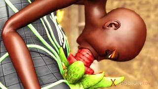Anubis fucks hard a sexy slave ebony in an egyptian temple