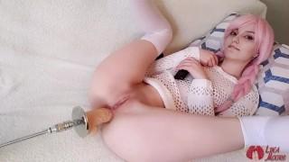 Cute girl with lollipop got an orgasm during anal