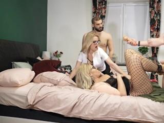 Secretaries Kate Truu and Mya Quinn Hard deepthroat orgy 2nd Part
