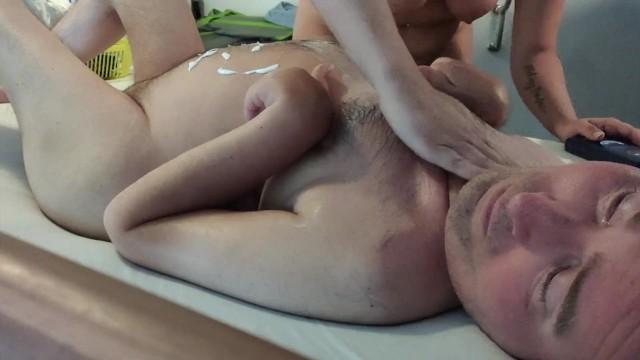 Sexy Nurse puts body lotion on cripple