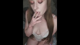 Dahlia Wolf French Inhales Babe Solo Playing with Boobs Pussy Cumming HARD