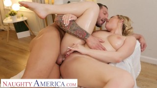 Naughty America Blake Blossom shows off her big tits and wet pussy to her hunky masseur