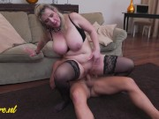 German Mature Wife With Big Natural Tits Squirts & Gets Creampied