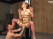 Blond twink impaled with a fuck machine by his hot master until he gets his balls drained