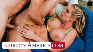 Naughty America Big tit blonde Rachael Cavalli fucks the repairman after lemonade