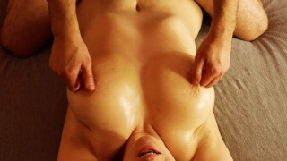 Oil masagge milf with big tits and thick thighs finger orgasm