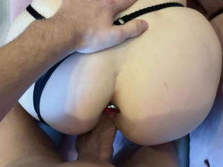 Creampie after Doggystyle Sex DP with Anal Plug KleoModel