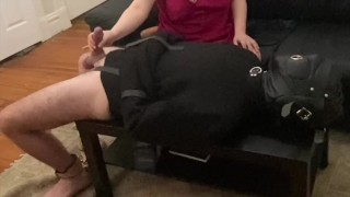 Straight Jacket Bondage Sub Teased and Allowed to Cum From Mistress