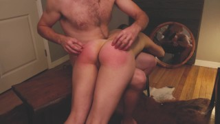 Brodie happily consents to an over the knee open hand ass spanking and fingering by Aiden