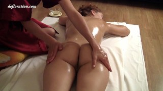 Brunette petite babe Roza Zadova gets first time massaged